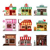 Cool set of detailed flat design city public buildings