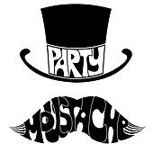 party Mustache and hat with text.