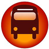 red bus web button or icon - transportation concept