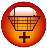 shopping basket with plus sign icon - add to shopping cart