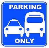 blue and white bus and taxi parking sign - illustration