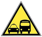 yellow triangle sign with a bus and a taxi - transportation concept