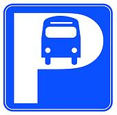 blue and white  bus parking sign - illustration