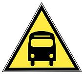 yellow triangle sign with a bus - transportation concept