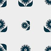 Bouquet of flowers with petals icon sign. Seamless abstract background with geometric shapes.