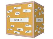 Lottery 3D cube Corkboard Word Concept