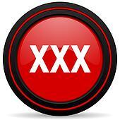 xxx red glossy web icon