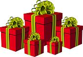 Red gift boxes with green and golden ribbons