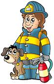Firefighter with dog and extinguisher