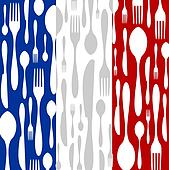 French Cuisine: Cutlery pattern on the country flag