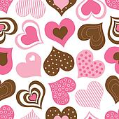Brown and Pink Hearts Pattern