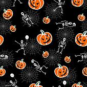 Halloween pumpkins and skeleton background