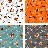 Halloween pumpkins and skeleton backgrounds