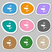 Washbasin icon sign. Multicolored paper stickers.