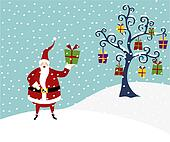 Christmas series: Happy Santa Claus and Christmas tree