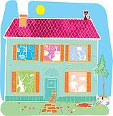 Home house vector cartoon illustration