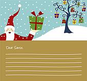 Christmas series: Happy Santa Claus and Christmas tree card