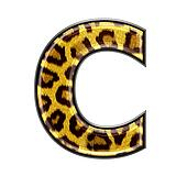3d letter with panther skin texture - C