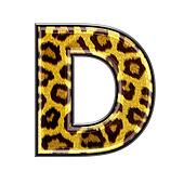 3d letter with panther skin texture - D