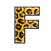 3d letter with panther skin texture - F