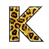 3d letter with panther skin texture - K