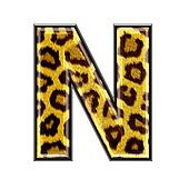 3d letter with panther skin texture - N