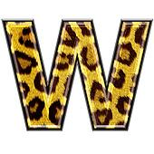 3d letter with panther skin texture - W