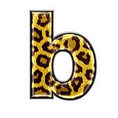 3d letter with panther skin texture - B