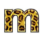 3d letter with panther skin texture - M