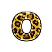 3d letter with panther skin texture - O