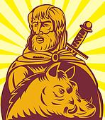Frey the  Norse god of agriculture with sword and boar