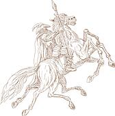 Norse God Odin riding eight-legged horse, Sleipner in the wild hunt. Hand  sketched and drawn.