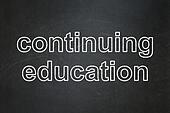 Education concept: text Continuing Education on Black chalkboard background, 3d render
