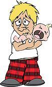 Sad Guy With Crying Baby