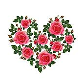 Rose flowers heart
