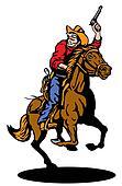 cowboy riding horse with gun
