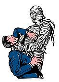 mummy strangling a man