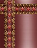 Ribbons and hearts Border satin