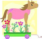 Cute Horse on a Flower Cart
