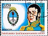 postage stamp shows Argentina chief J. San Martin