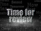 Time concept: Time for Review in grunge dark room