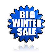 big winter sale in 3d blue star banner