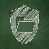 Finance concept: Folder With Shield on chalkboard background