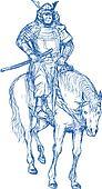 Samurai warrior riding horse with sword