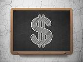 Currency concept: Dollar on chalkboard background
