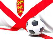 Flag of jersey with football in front of it