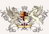 Heraldic design with griffin and horse