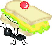 Ant Carrying Cheese Sandwich