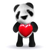 3d Baby panda bear hugs a heart