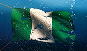 Nigeria Under Water Sea Flag National Torn Bubble 3D
